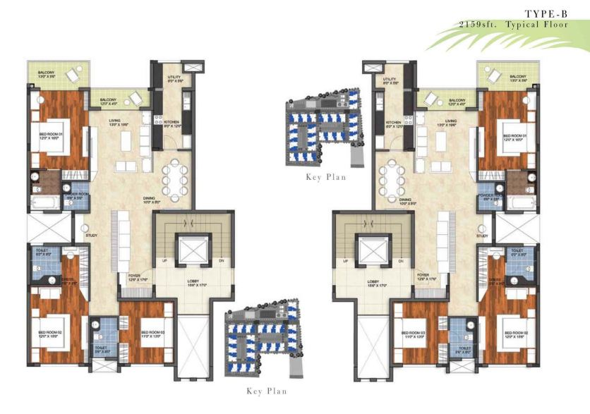 floor plan of prestige garden bay resale 3 bhk 2159 sft